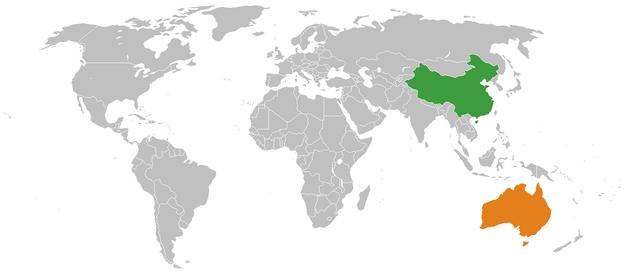 China Australia Locator