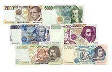 Italian lira banknotes