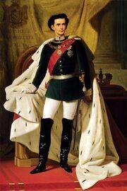 De 20 jarige Ludwig II in kroningsmantel door Ferdinand von Piloty 1865