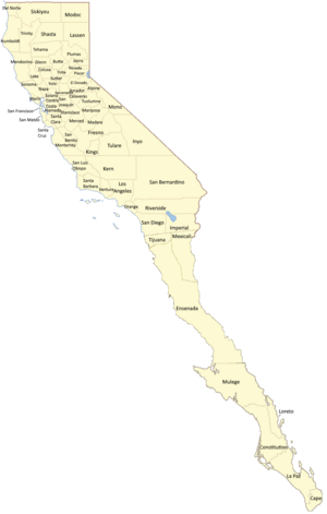 Counties of California Labeled DownDifPath
