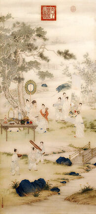 The Qianlong Emperor Viewing Paintings