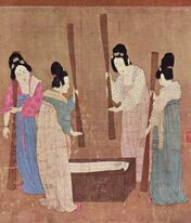 Court ladies pounding silk from a painting (捣练图) by Emperor Huizong