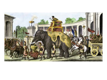 Victorious-hannibal-on-an-elephant-bringing-trophies-and-roman-prisoners-into-arena
