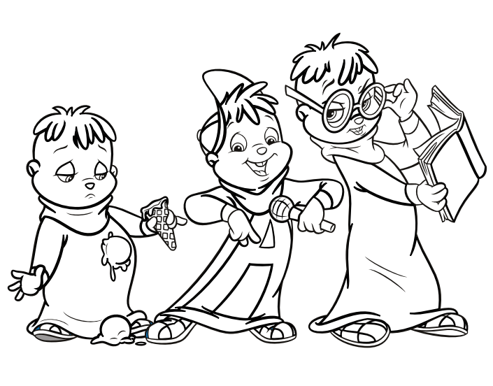 Image the chipmunks colouring alvin and the for Chipmunks coloring pages