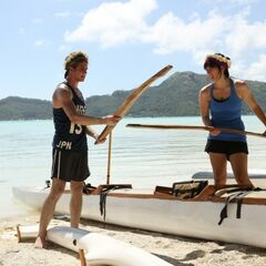Joey &amp; Meghan preparing their canoe in <a href=