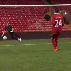 Rachel kicking Soccer balls in <a href=