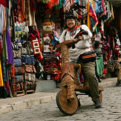Mark &amp; Bill performing the <i>Dumpy Ride</i> Detour in Bolivia.