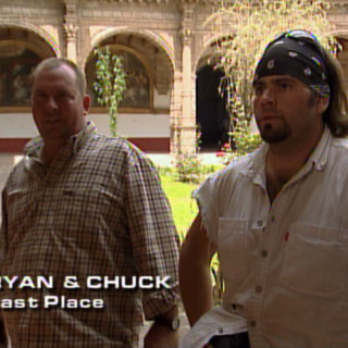 Ryan &amp; Chuck were eliminated from the race in 11th place after losing in a footrace by mere seconds to <a href=
