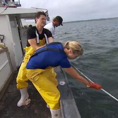 Kelsey &amp; Joey hoisting lobster traps in the <a href=