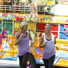 Caitlin &amp; Brittany running to the <a href=