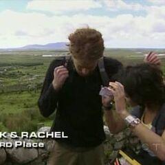 TK & Rachel finish 3rd on Leg 1.