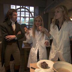 Caroline &amp; Jennifer doing the <i>Tasty Pudding</i> Detour on Leg 10.