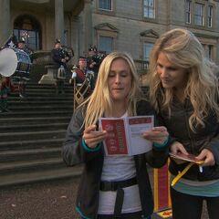 Caroline &amp; Jennifer reading the Roadblock clue for <a href=