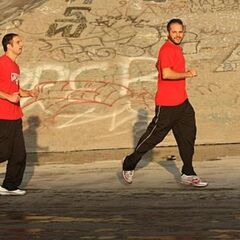 Zev &amp; Justin running to the <a href=