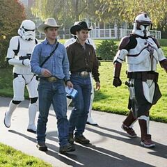 Jet & Cord walking with Storm Troopers during the final leg.
