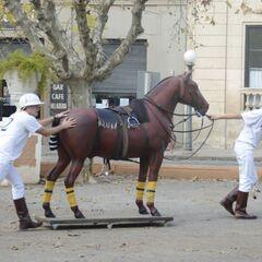 Kelsey &amp; Joey doing the <i>Horse</i> Detour in Leg 3.