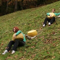 Jaime &amp; Cara carrying Cheese Wheels in <a href=