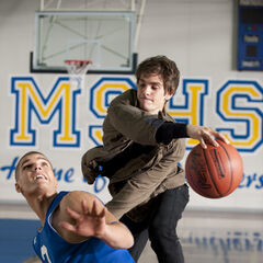 Peter faces off with Flash Thompson in basketball.