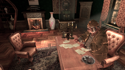 Radcliffe writing in his office