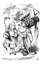 Alice and Duchess in croquet party