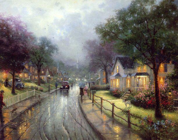 File:Thomas kinkade seasons walking to church on a rainy sunday evening.jpg