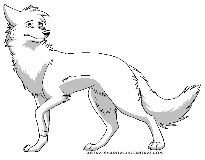Simple Wolf Lineart : Image free lineart psd ms paint by astar shadow