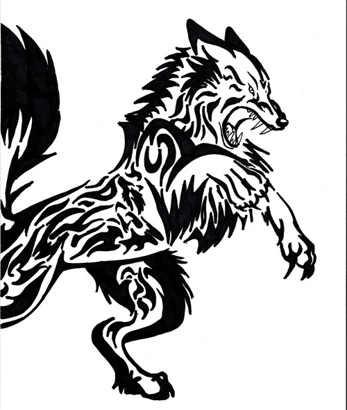 Image - Black-tribal-wolf-animal-tattoo-design.jpg ...