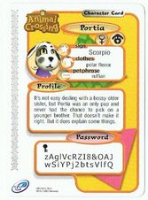The Back of Portia's E-Reader Card