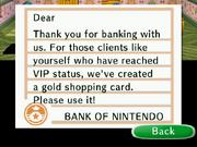 Golden shopping card letter