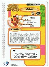 The Back of Faith's E-Reader Card