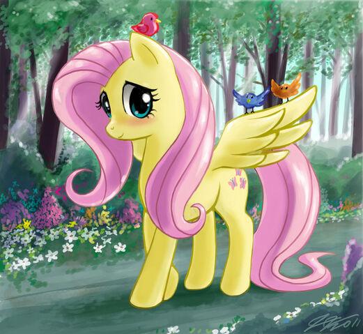 File:FANMADE Fluttershy walking in a forest.jpg