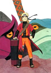 Naruto with coat and scroll