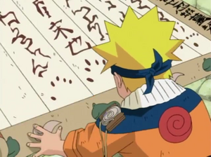 Naruto About To Sign His Name In The Contract