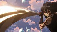 Akame using Murasame's anime Trump Card