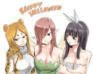 Minerva, Erza, and Kagura Halloween Twitter Sketch by Hiro Mashima