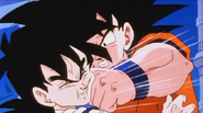 Goku punchs gohan in the face