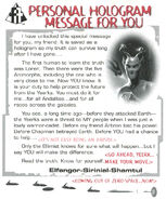 Animorphs Alliance Flash issue 12 Personal Hologram Message Elfangor