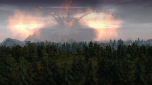 Volcano Island, exploding mountain