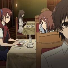Izumi and Yumi staring at Kouichi's table