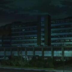 Yomiyama Hospital at night