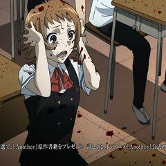 Kubodera's blood sprays on a horrified Aya.