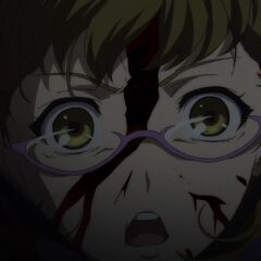 A shocked Takako becomes entangled in cables while trying to kill Mei.