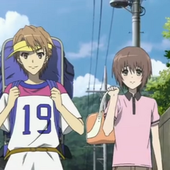Naoya wears a ludicrously large backpack when he and Yuuya arrive for the trip to the beach.