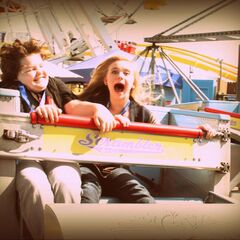 Aedin and Sierra at Scrambler at the Mattel Party on The Pier