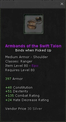 Armbands of the swift talon
