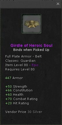 Girdle of heroic soul