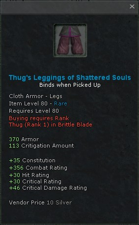 Thugs leggings of shattered souls