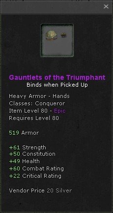 Gauntlets of the triumphant