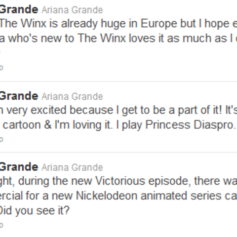 Ariana tweeting about the show