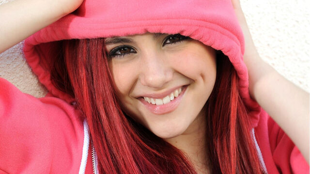 File:Ariana posing in a pink hoodie.jpg